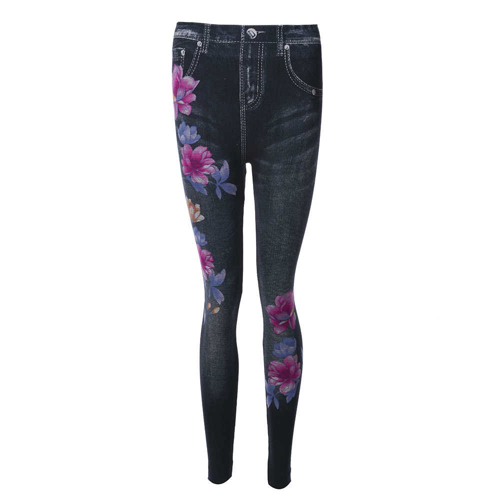 Femmes Leggings imprimer crayon pantalon automne et hiver décontracté nouvelle mode élastique taille haute Faux jean Leggings grande taille 3XL