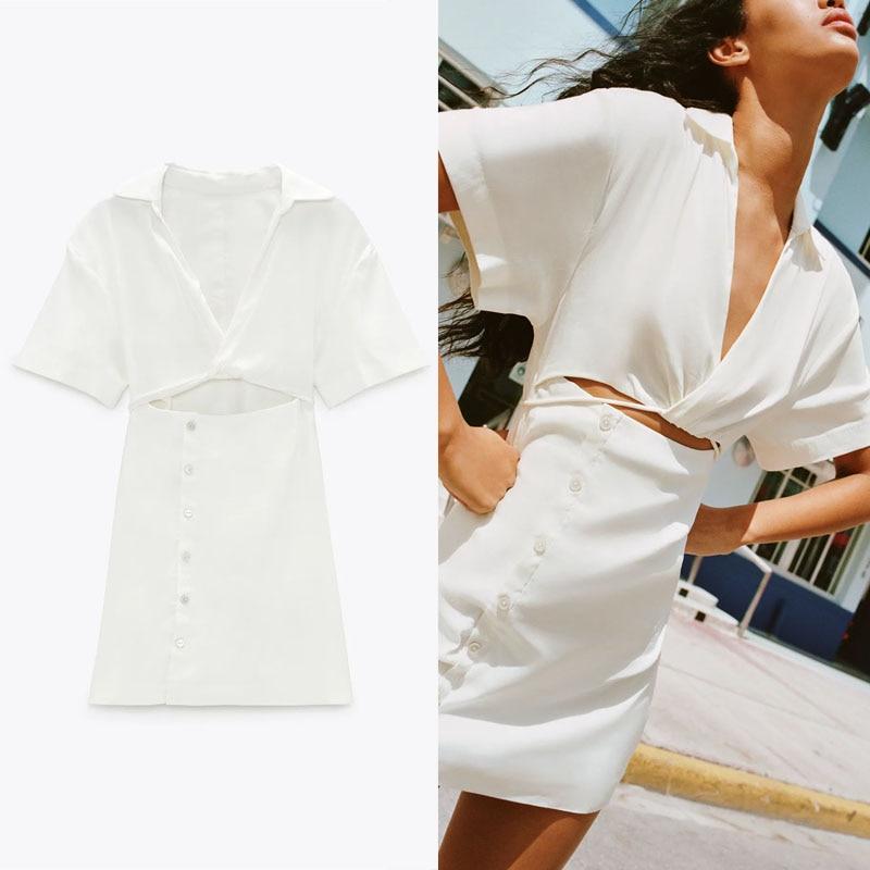 Женское винтажное мини вечерние платье Za, белое платье с коротким рукавом, вырезами и боковой молнией, на пуговицах, лето 2021