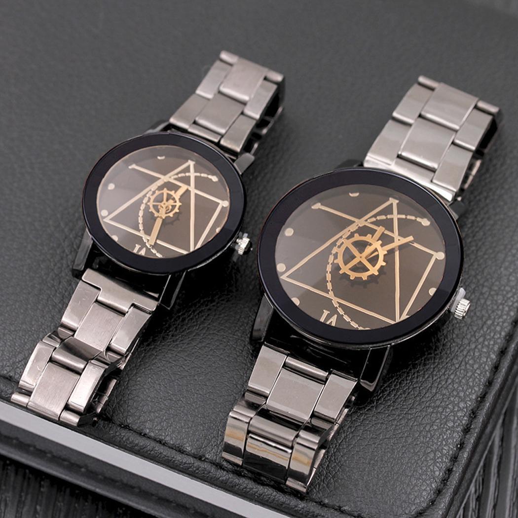 Couples Quartz Watch Metal Wristband Fashion Pointer Round Dial Alloy Wristband Wristwatch Clock For Women Men Gift
