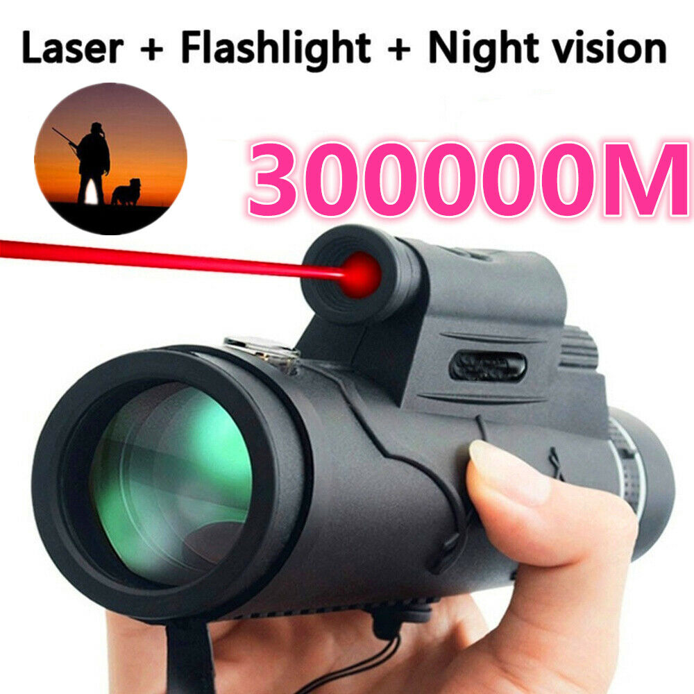 50x Black Outdoor Upgraded HD Optics Monocular Telescope Extra Long 30000M Compass Flashlight Infrared Distance Telescope