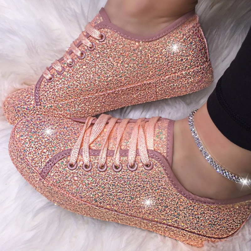 Women Lace Up Sneakers Pink Sparkle