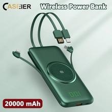 CASEIER Power Bank 20000mAh bezprzewodowy przenośny Powerbank 4 kabel 10000mAh banki szybkie ładowanie dla Xiaomi Carica Batteria Cellulare
