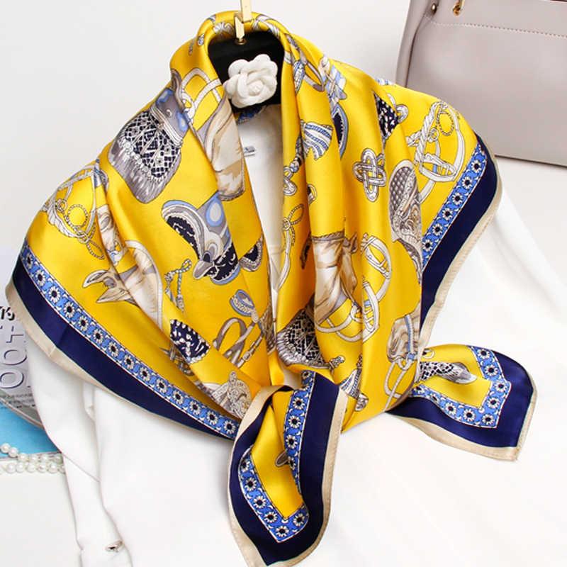 Donne Piazza Sciarpa di Seta 90x90cm Bandana Regalo per la Madre 2020 Hangzhou Collo Di Seta Pura Sciarpe Wraps100 % reale di Seta Piazza Sciarpe