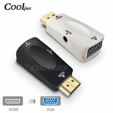 HDMI to VGA Adapter Male to Female HD 1080P Audio Cable Converter For