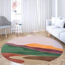 Round Carpet Kitchen Soft Anti Slip Modern Floor Mat Bedroom Bathroom Living Room Gouache Decor Large Printed Area Rugs