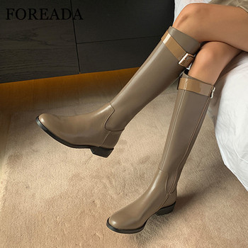 FOREADA Low Heel Riding Boots Woman Real Leather Knee High Boots Zip Block Heel Shoes Buckle Ladies Long Boots Black Big Size 40 haraval handmade winter woman long boots luxury flock round toe soft heel shoes elegant casual warm retro buckle solid boots 289