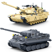 Compatible Legoed Ww2 Military Tank Tiger M1A2 ABRAMS Model Building Blocks World War 2 Germany Arme Vehicles Plane Battle Sets(China)