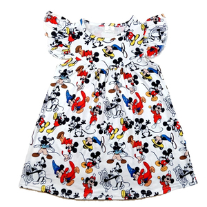 Image 1 - 2020 New Designs Spring/Summer Baby Girls Pearl Dress Cute Mickey Printed Clothes Toddlers Milk Silk Casual Dresses Wholesales