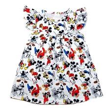 Весна лето 2020, новый дизайн, жемчужное платье для маленьких девочек, милая одежда с принтом Микки, повседневные платья из молочного шелка для малышей, оптовая продажа