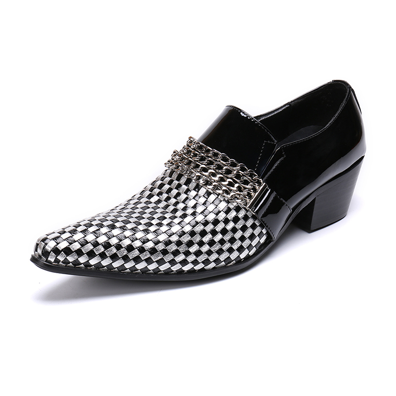 CH.KWOK Luxury Italian Genuine Leather Men Chain Oxford Shoes Slip-on Pointed Toe Men's Dress Shoes Office Party Fashion Shoes