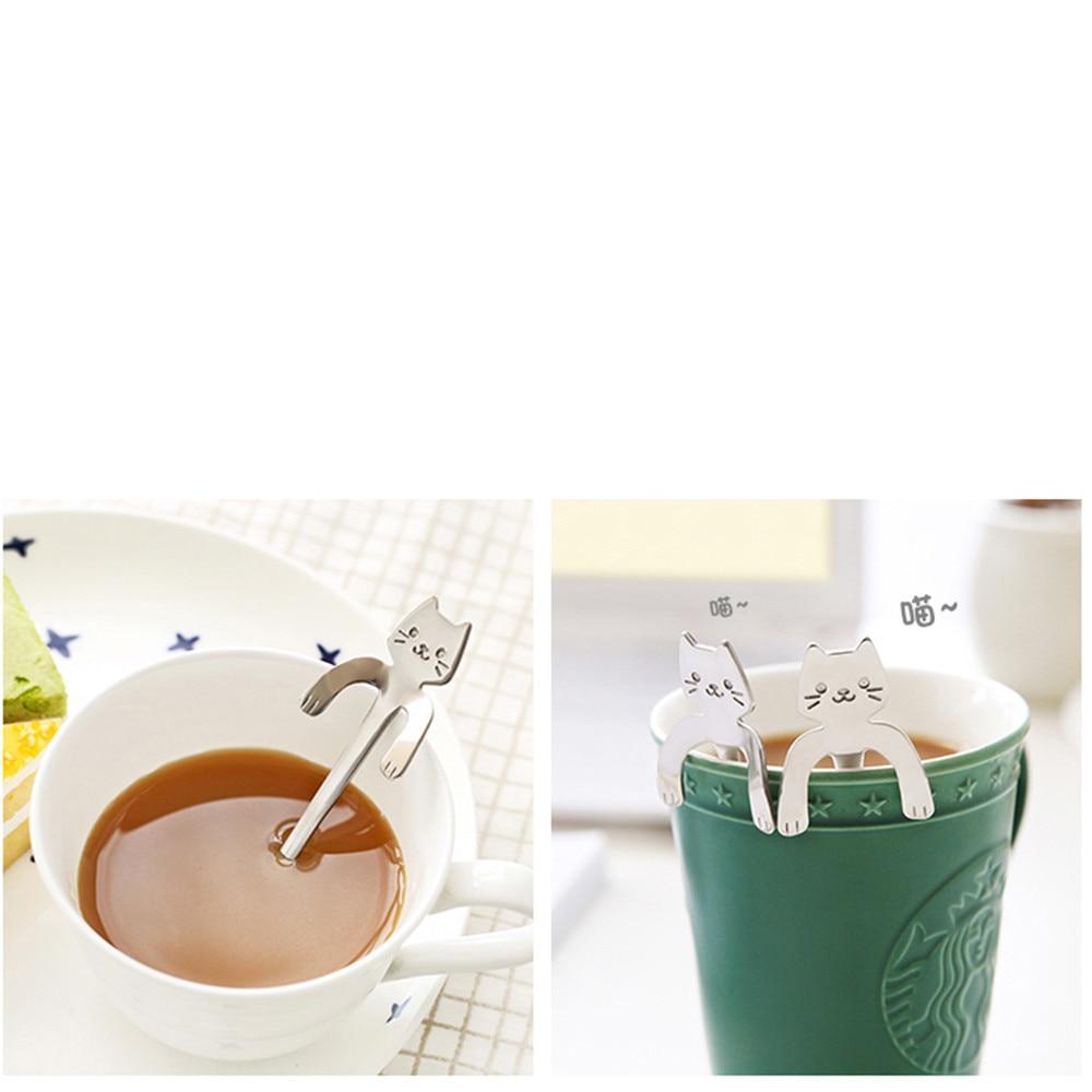 1 Piece Cute Cat Spoon Long Handle Spoons Flatware Drinking Tools Kitchen Gadget Creative Coffee Stir Spoon #30
