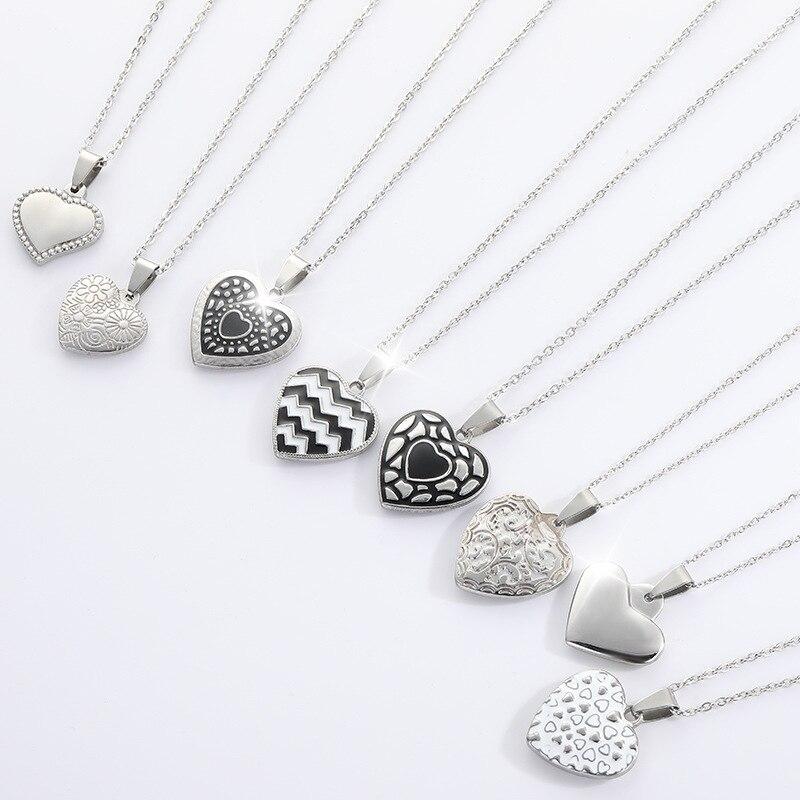 Coração de aço inoxidável charme pingente colares jóias clássico esculpido amor coração gargantilha colar romântico casamento jóias kpop