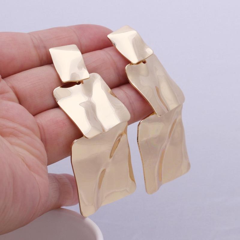Женские трехслойные большие квадратные кованые металлические серьги-подвески ZA, преувеличенные серьги золотого цвета, Длинные геометриче...