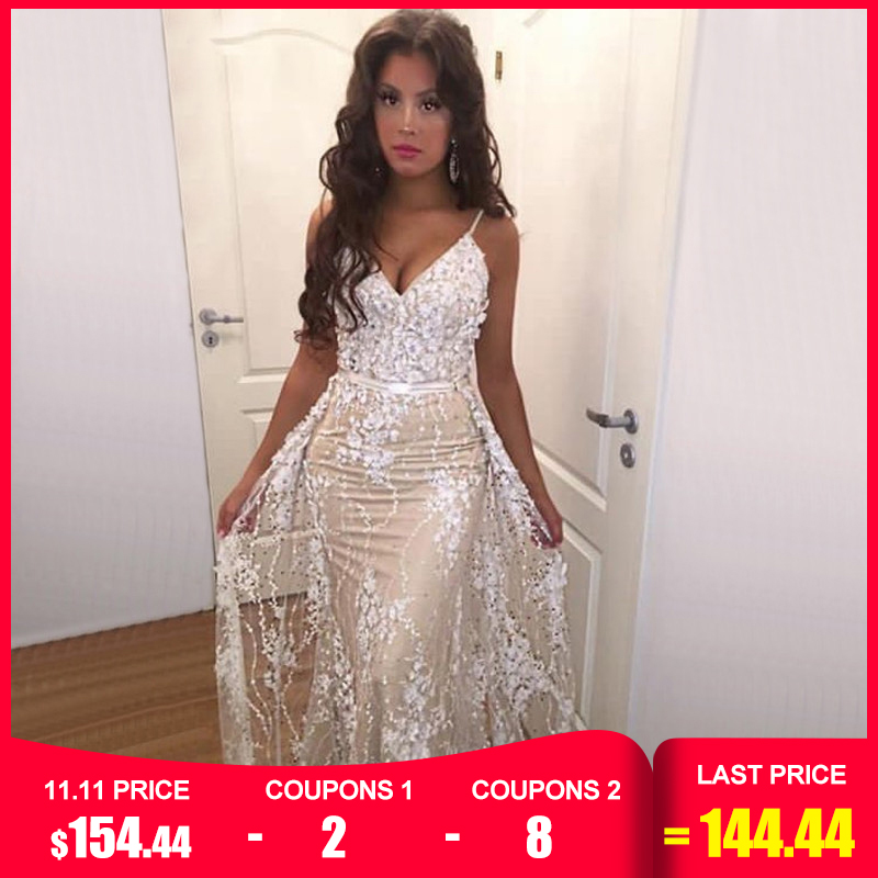 White Handmade Flower Pearl Sexy Evening Dresses 2019 Sleeveless Mermaid Luxury Lace Evening Gowns Real Photo LA60711