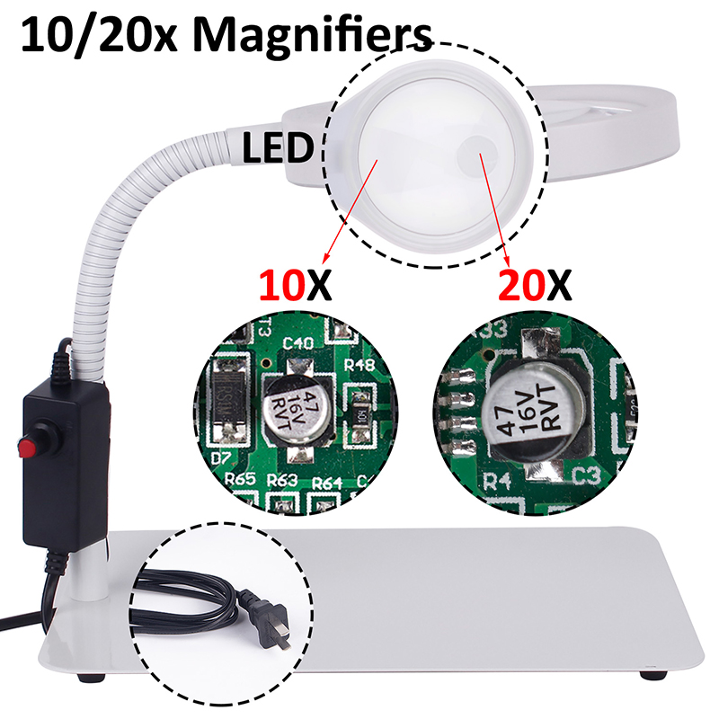 Illuminated magnifier 10/20X magnifying glass with led light support table magnifier lamp magnifier for beauty salon for reading