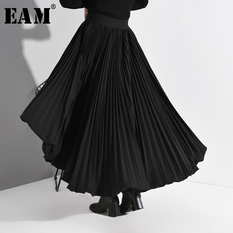 [EAM] High Elastic Waist Black Back Long Pleated Temperament Half-body Skirt Women Fashion Tide New Spring Autumn 2020 A783