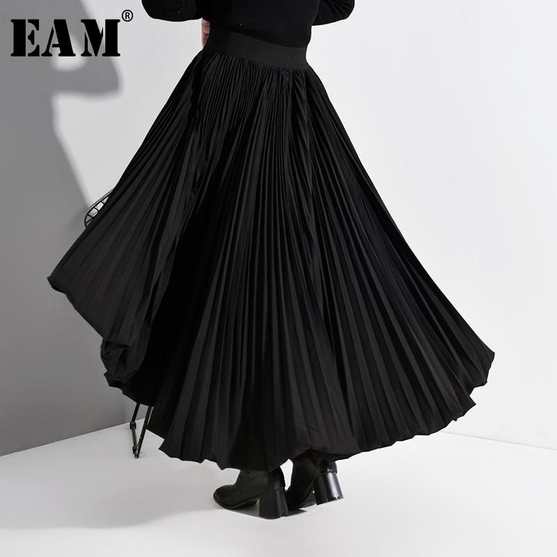 [EAM] High Elastic Waist Black Back Long Pleated Temperament Half-body Skirt Women Fashion Tide New Spring Autumn 2020 A783