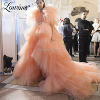 Amazing Layered Tiered Tulle Prom Dresses High Low Style Evening Dress Peach Pink Robe De Soiree Pageant Party Gown 2019 Vestido
