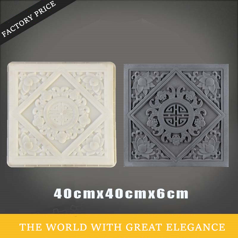 40cm /15.74in 3D Courtyard Lawn Lotus Abstract Geo Graphics Flower Square Strong ABS Plastic Cement Thick Garden Build Tile Mold