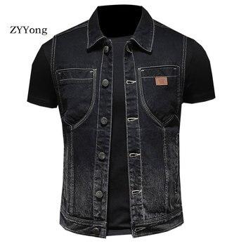 цена Retro European Style Turndown Collar Single Breasted Sleeveless Black Slim Denim Vest Coat Men Waistcoat Jean Jacket Gilet Homme онлайн в 2017 году