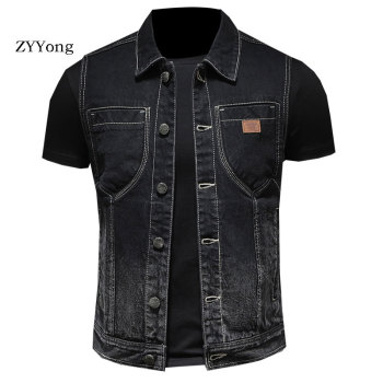 ZYYong High Quality Denim Men's Vest Black Fashion Youth Denim Vest Cotton Lapel Seeveless Motorcycle Style Denim Vest Men