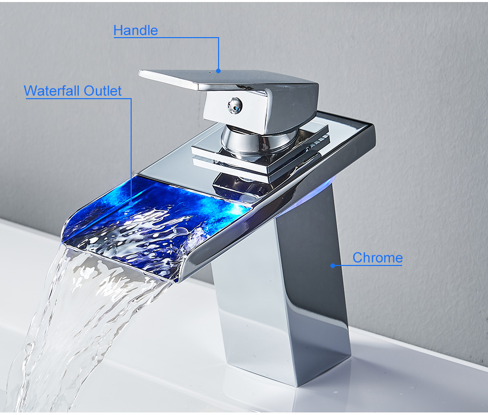 H5d0e2a1822fe43a38044ee40a962ec7dU ROVADE Bathroom LED Basin Faucet, Waterfall Bathroom Sink Tap Cold and Hot Mixer Crane (Chrome)