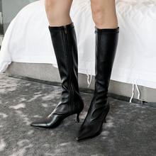 Plus Size 34-43 New Knee High Boots Women Long Booties Pointed Toe Fashion Shoes Female Zip High Heels Party Shoes Ladies Boots недорого