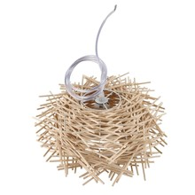 Ceiling Light Cover Hand Woven Rattan Chandelier Light Shade Bird Nest Wooden Ceiling Lamp for The Bar, Coffee Shop, Book Store,(China)