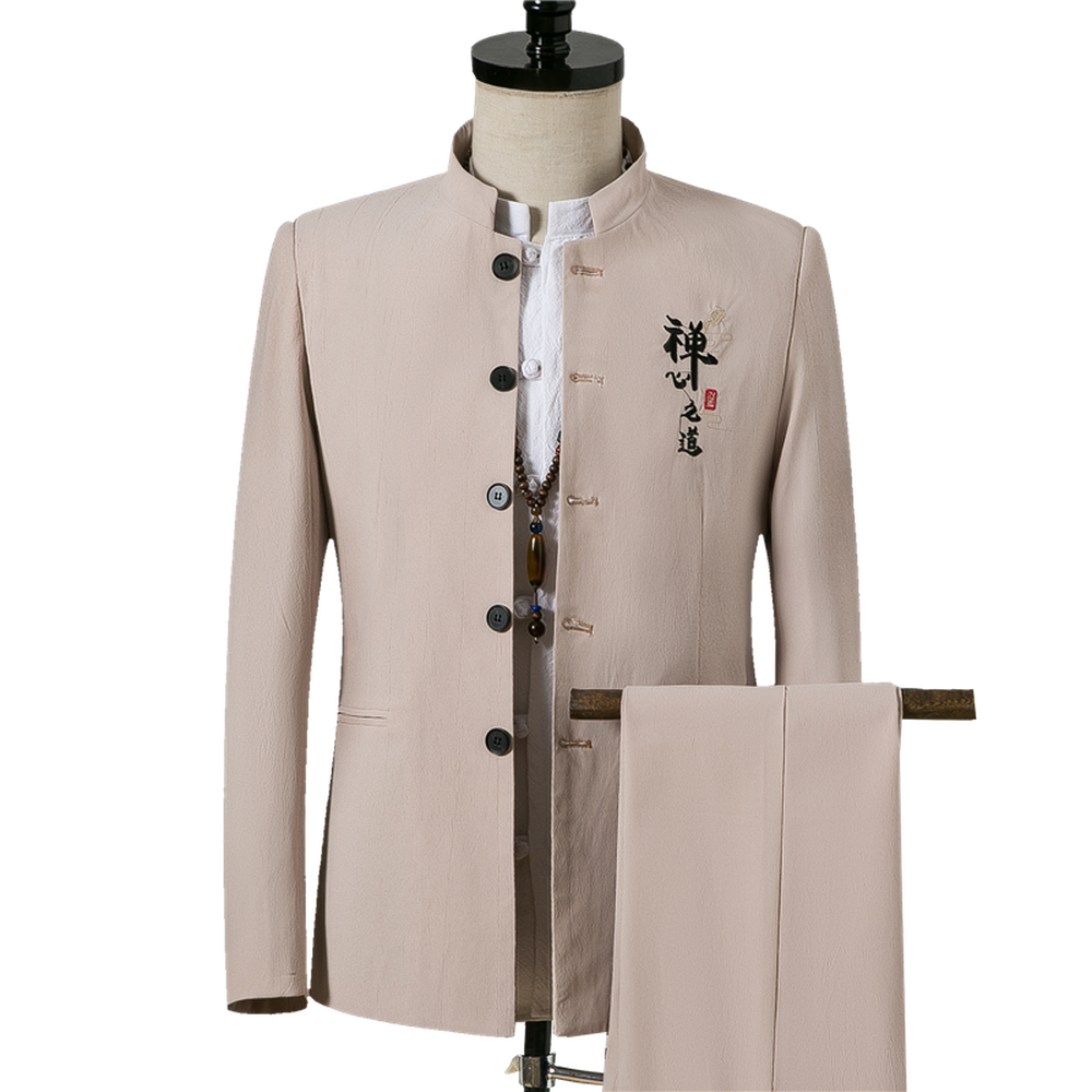 Traditional Stand Collar Tunic Suits Costume Male Embroidery Chinese Word Suit Wedding Tunic Suit Jacket+Pants 2 Pcs Sets
