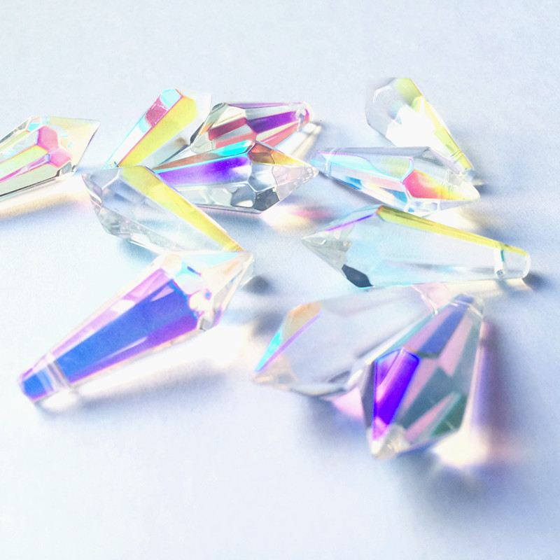 100pcs/lot 36mm AB Color K9 Crystal Prisms Icicle Drops Hanging Prisms (Free Rings) For Chandelier Parts Table Lighting Pendants