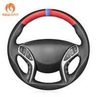 MEWANT Black Genuine Leather Hand Sew Car Steering Wheel Cover for Hyundai Elantra 3 2011 2016 Elantra Sport 2011 2016 Elantra