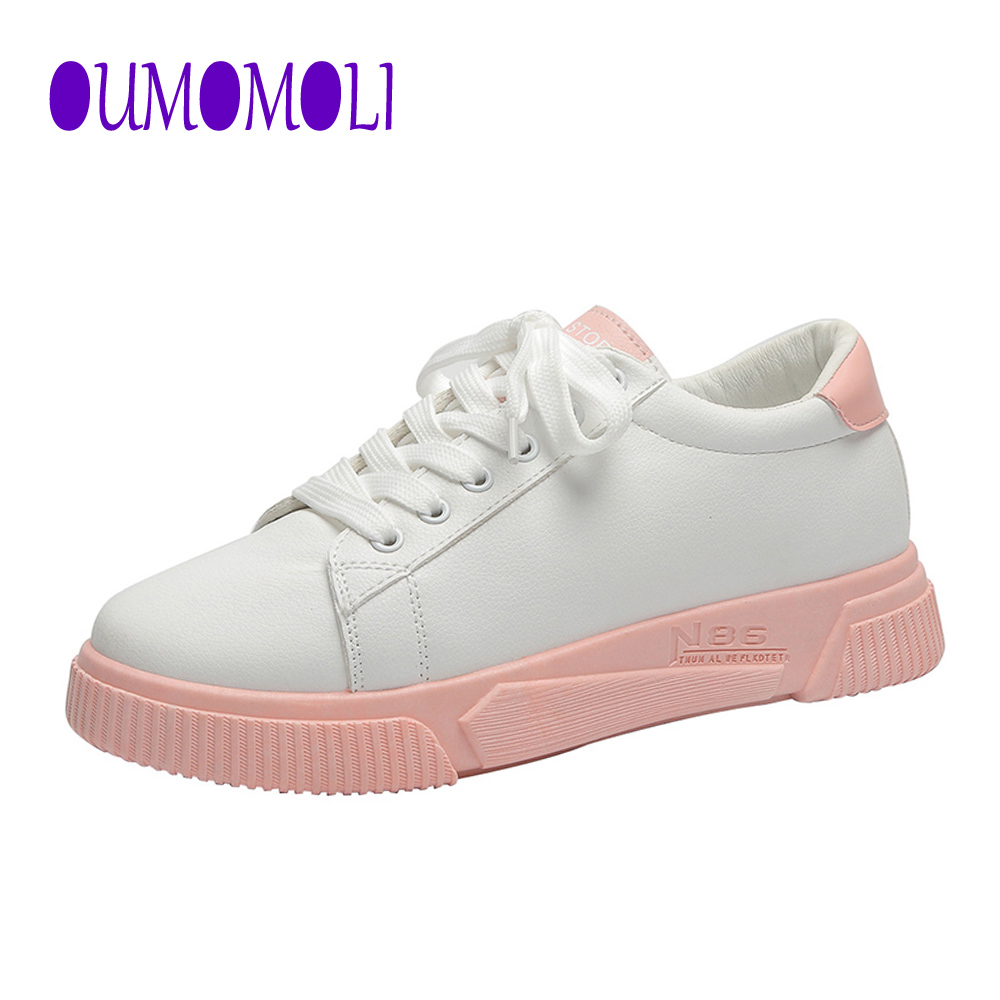 2020 Woman Shoes Fashion New Woman PU Leather Shoes Ladies Breathable Cute Flats Casual Shoes White Sneakers Fashion Q183