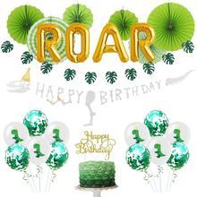 Dinosaur Theme Birthday Party ROAR Foil Balloons Decor Cute Banner Foil Swirl Cake Topper  Boy Kids Jungle Party T-Rex Decor dinosaur roar