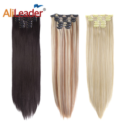 Alileader 26Colors 6Parts/Set Clip In Extension Hair Straight Brown Clip Ins Synthetic 22