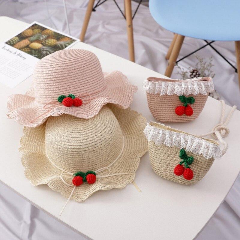 Kids Charm Princess Straw Baby Girl Sun Hat Flower Cap /& Handbag Lovely Summer