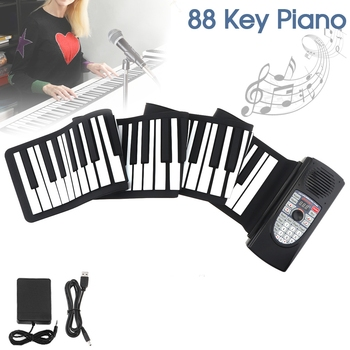 88 Keys USB MIDI Roll Up Piano Rechargeable Electronic Flexible Keyboard Organ Built-in Speaker Support Bluetooth Connection