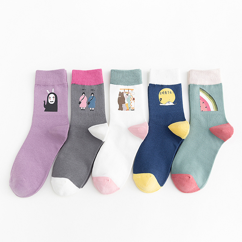 Autumn And Winter New Printing Socks Japanese College Style Childlike Cute Anime Socks Cartoon Cotton Socks Wholesale