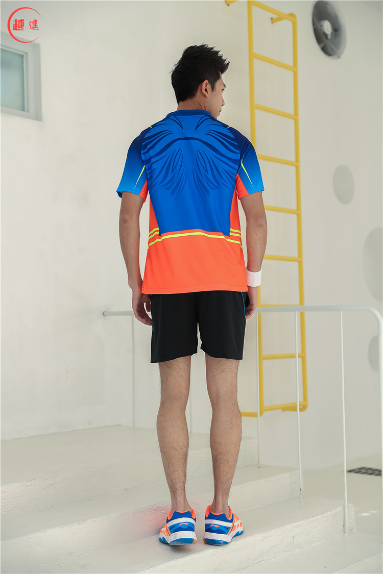 Быстросохнущая, впитывающая пот и дышащая рубашка для бадминтона, топ для соревнований, тренировочный костюм для бега, мужской и женский короткий рукав