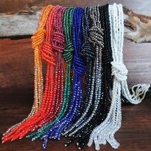 Ожерелье многослойное женское с бусинами длинная цепочка на