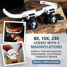 LED Glasses Magnifier 8x 15x 23x Multi-Power Double LED Lights Magnifier Eye Glasses Watch Repair Loupe Jeweler Magnifying Glass