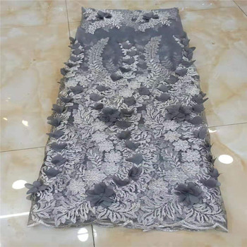 gray French 3D handmade flowers Lace Fabric Embroidered African Lace Fabric 2019 High Quality Lace Nigerian Tulle Dress Laces