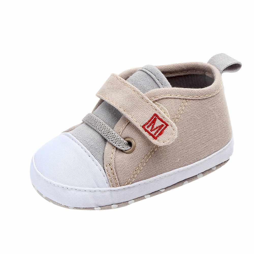 Bonitos niños bebés niñas zapatos invierno bebé recién nacido bonito niños niñas lona carta primeros Walkers suela suave zapatos