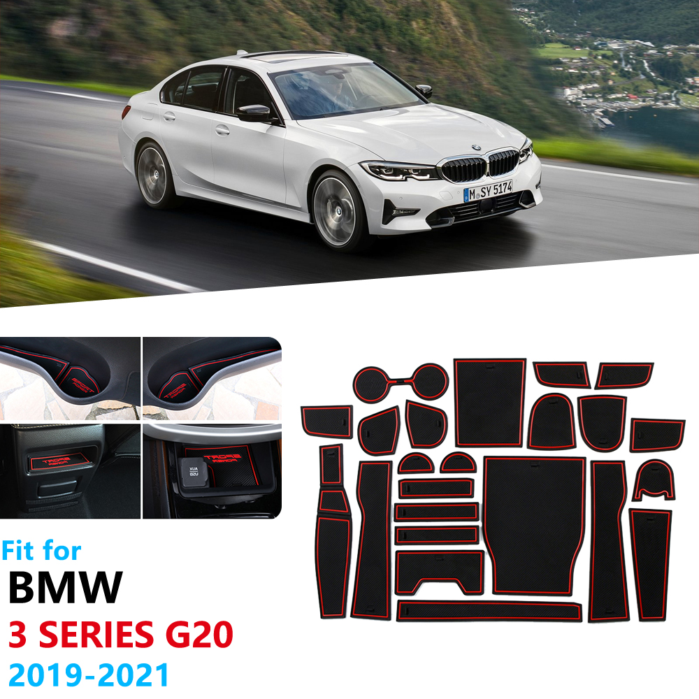 Anti-Slip Rubber Gate Slot Cup Mat for BMW 3 Series G20 G21 2019 2020 Accessories Car Stickers 320 330 318 320i 330i 318d M image