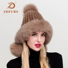 ZDFURS* Womens Winter Knitted Mink Fur Hat Ear Flap Fox Pom Bomber Hats Caps Russian Ushanka Trapper Snow Skiing