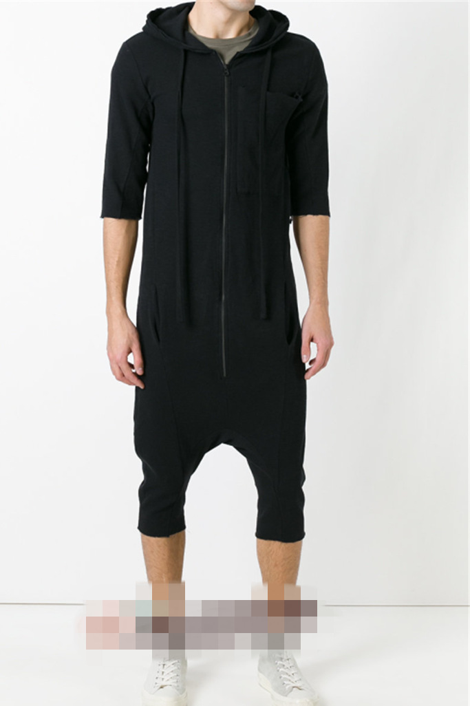 Dark Shawn Hair Stylist Nightclub Hairdresser Hooded Onesie Fashion Man Back Rise Width Trousers One-piece Bib Overall