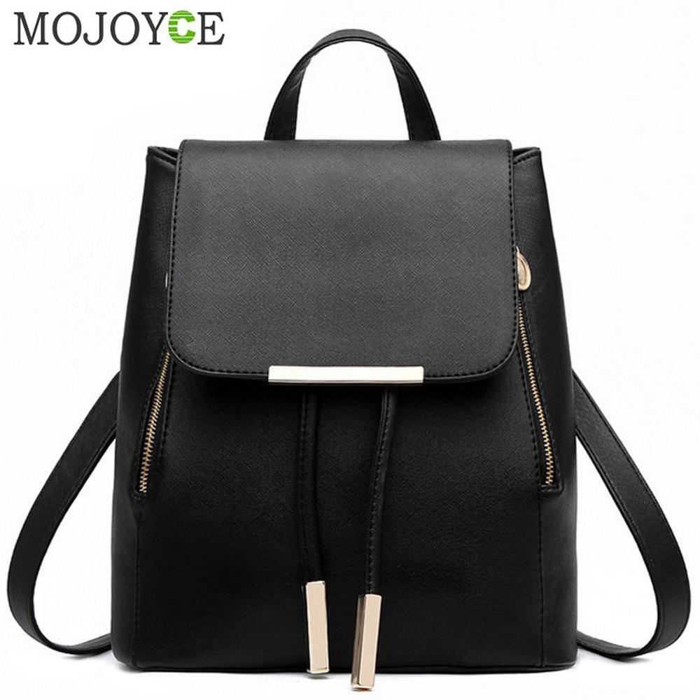 Black School Supplies Backpack Female PU Leather Backpack Japanese Street Bag Women's School Bag For Adolescent Girls Backpacks