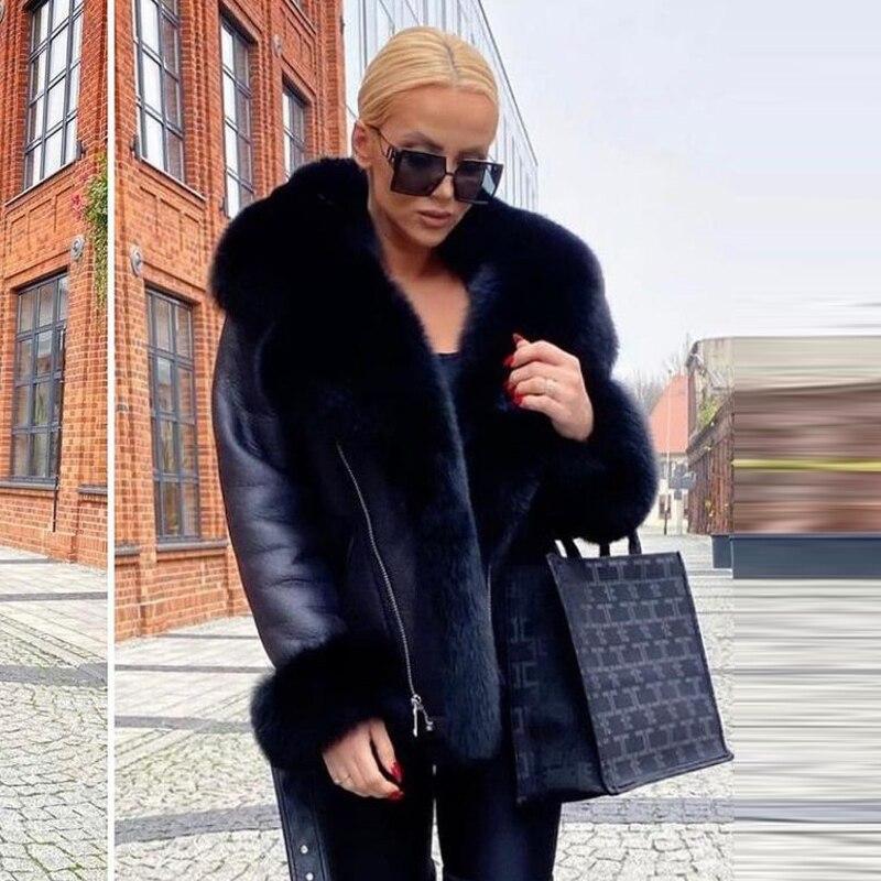 H5d0eeb8027f247cba950622e728a1b91b Winter Real Fur Coats Natural Women High Quality Genuine Leather Jacket With Big Fox Fur Turn-down Collar Luxury Overcoats 2021