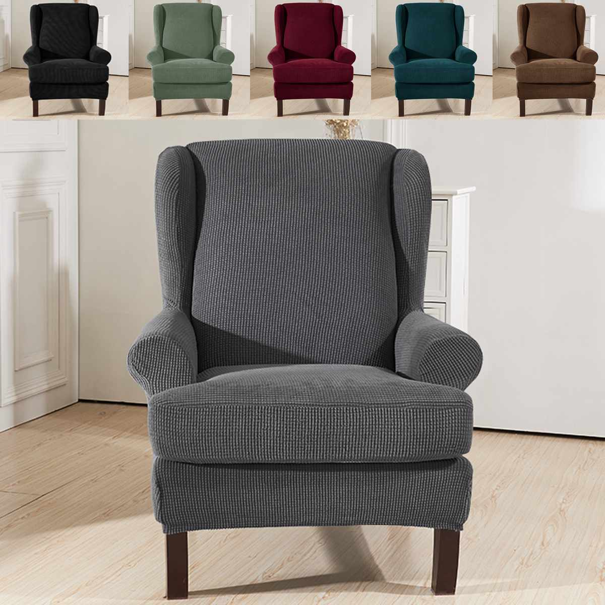 Elastic Armchair Wingback Wing Sofa Back Chair Cover Sloping Arm King Back  Chair Cover Stretch Protector SlipCover Protector Slipcovers Dining Room ...