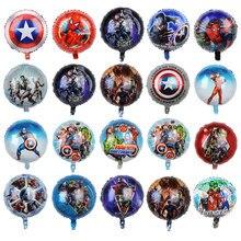 10 pçs/lote 18 polegada herói folha balões vingadores spiderman capitão supreman festa ballon crianças aniversário chuveiro do bebê fornecimento globos