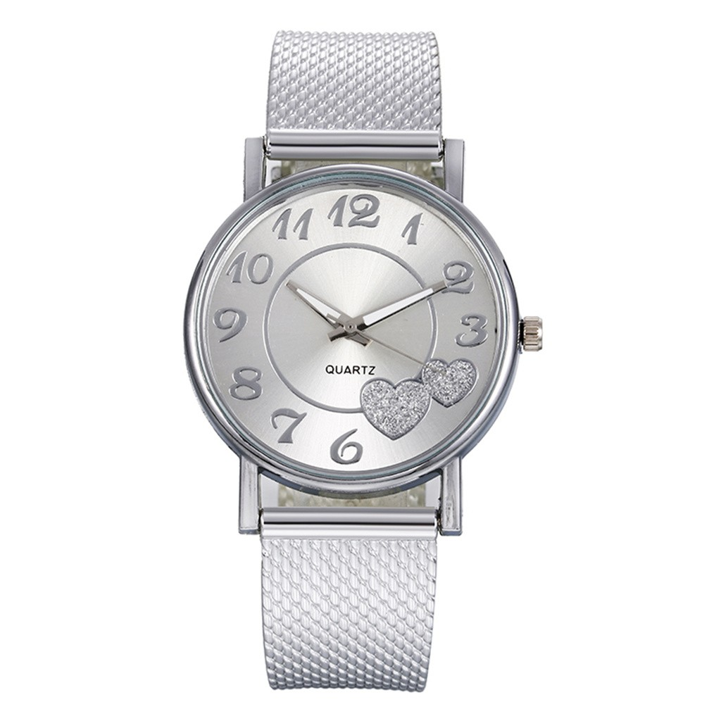 Quartz Watches Mesh Feminino Gold Silver Casual Fashion Women Relogio Love Heart title=